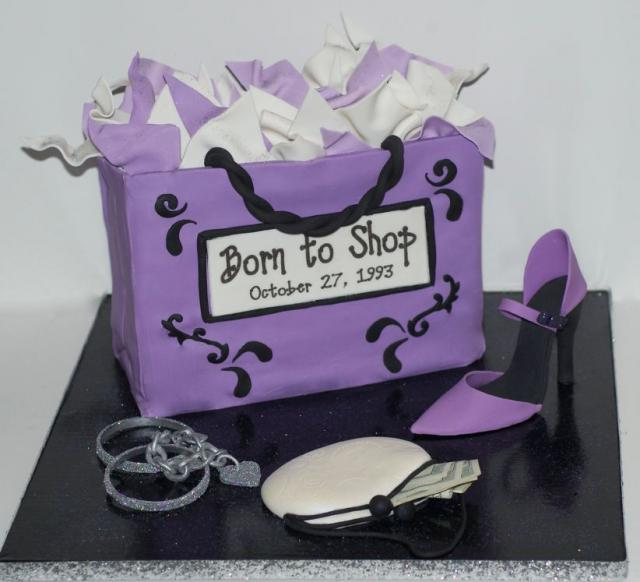 Stupendous Lavender Shopping Bag Cake With High Heel Shoe Jpg 1 Comment Hi Birthday Cards Printable Opercafe Filternl