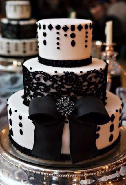 Black Lace White Round 3 Tier Wedding Cake With Large Bow Jpg
