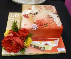 Heron and Flowers Theme 50th Anniversary Cake.JPG