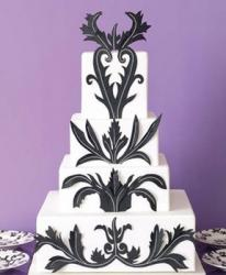 trendy wedding cake in white and black