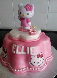 Flower Shape Hello Kitty Cake with Pearls.JPG