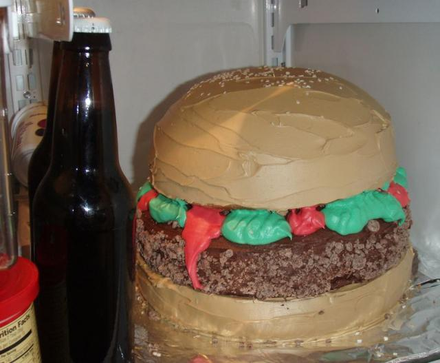 Brilliant Hamburger Birthday Cake And Beer Bottle Jpg Personalised Birthday Cards Epsylily Jamesorg