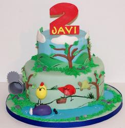 Two tier round bird-theme birthday cake for 2-year-old.JPG