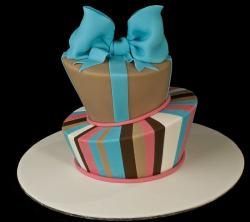 Two tier round cake with large blue bowtie.JPG