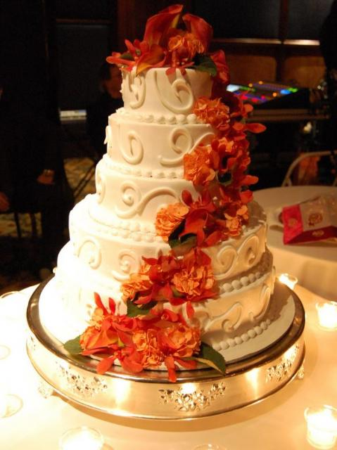 5 tier wedding cake with cascading flowers white 5 level wedding cake with cascading and 10476