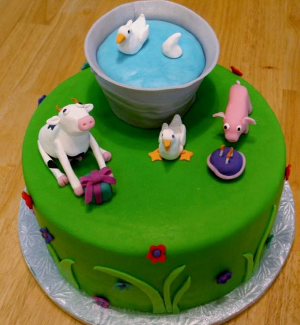 Farm Barnyard Animals Theme Birthday Cake Cow Duck Amp Pig