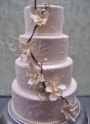 Pink 4 Tier Wedding Cake with flowers & branches.JPG