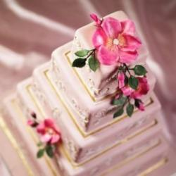 big square wedding cake with pink flowers