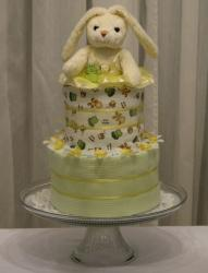 Bunny rabbit two tier baby shower cake with diaper.JPG