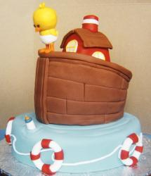 Chick and house and baby bottle baby shower cake.JPG