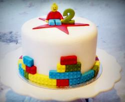 Lego theme round white cake for 2 year old.JPG