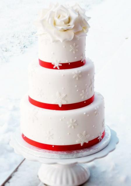 3 tier round white wedding cake with white flowers on top and snow flake decor.JPG