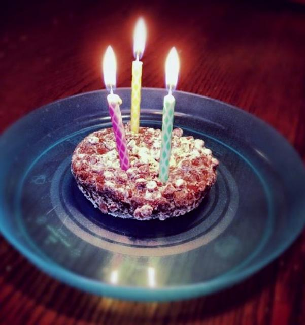 Small Chocolate Birthday Cake With Crunchy Top And 3 Lit Candlesg