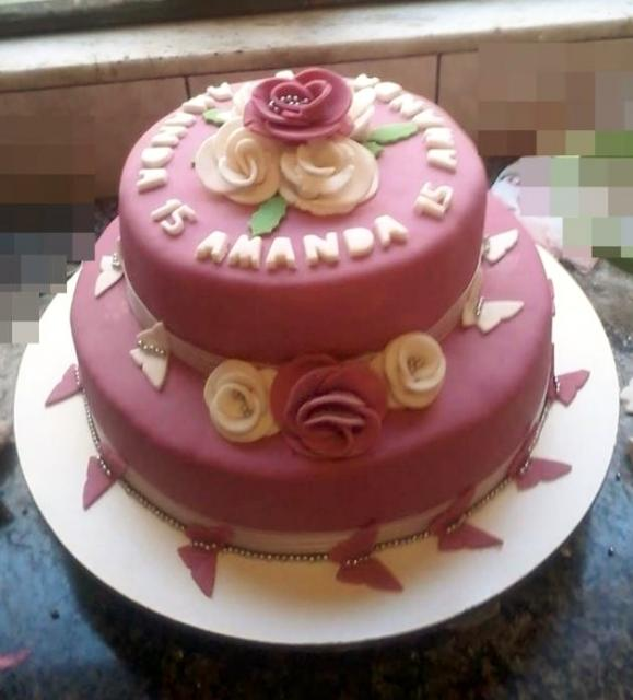 Pink 2 Tier 15th Birthday Cake For Girl With Flowers.JPG