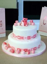 Two Tier Teddy Bear & Baby Blocks Christening Cake.JPG