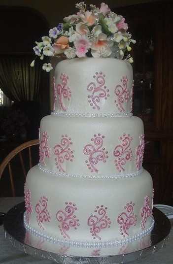 High Three Tier Wedding Cake With Flowers Topper
