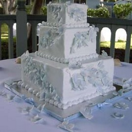 Light blue wedding cake in square