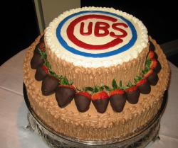 Chicago Cubs chocolate groom's cake.JPG