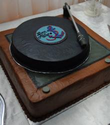 Turntable chocolate Grooms Cake.JPG