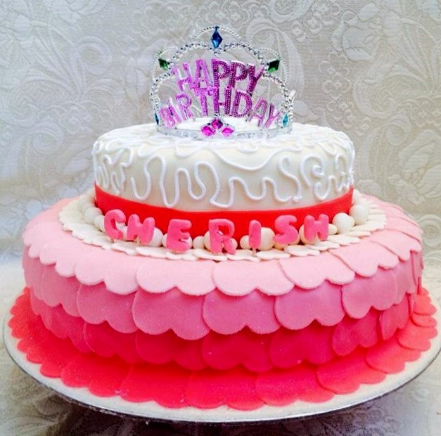 Two Tier Pink And White Birthday Cake For Girl With Tiara