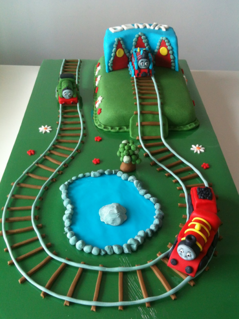 Large Thomas And Friends Cake With Thomas Percy And James