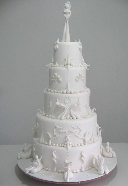 Wedding Cake With 5 Round White Tiers And Modern Bride