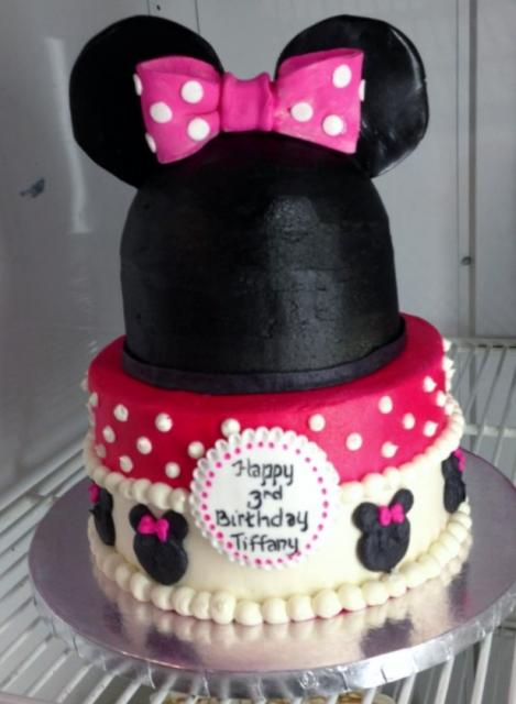 Minnie Mouse theme third birthday cake with pink bow.JPG