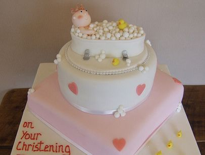 image of lovely baby shower cake w baby in a bathtub