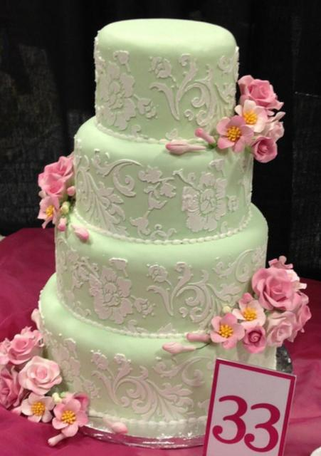 light pink and white wedding cakes 4 tier light green wedding cake with pink flowers and 16873