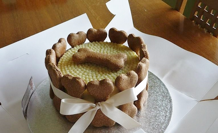 Dog Birthday Cake with Bone Shaped Biscuits.JPG