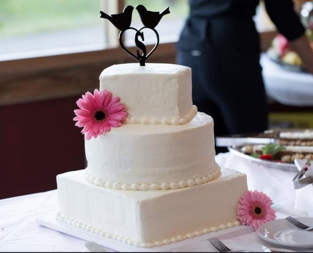 White 3 Tier Square Amp Circle Shape Wedding Cake With Love Birds Monogram TopperJPG Hi Res 720p HD