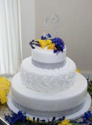 3 Tier White Wedding Cake Tiffany Bands Wavy Second Tier & Crystal Monogram Topper.JPG