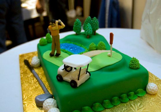 Golf Theme Cake With Clubs Balls And Cart Jpg