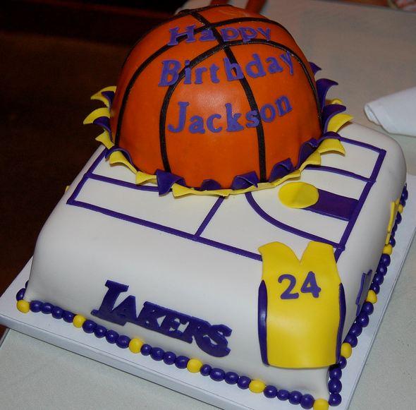 Los Angeles Lakers Basketball Theme Birthday Cake.JPG