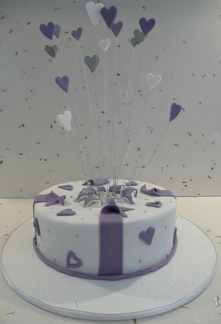 White engagement cake with purple hearts cake decor.PNG (1 comment) Hi-Res 720p HD