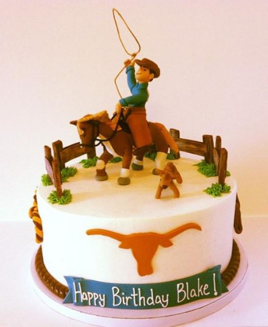 Texas Longhorn And Lassoing Cowboy Theme Birthday Cake Jpg