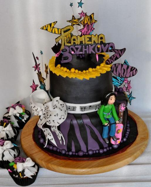 Music Theme 2 Tier Black Round Birthday Cake For Teenage